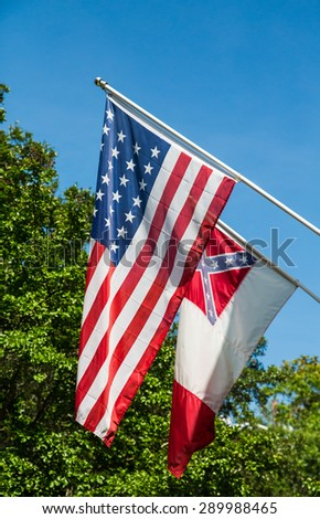 CHARLESTON, SOUTH CAROLINA - JUNE 22, 2015: Controversy continues to rage over the use of confederate flags in government buildings and parks - stock photo