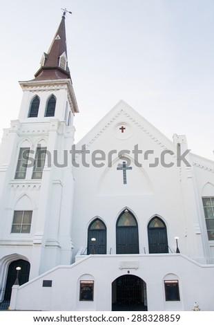 CHARLESTON, SOUTH CAROLINA - June 17, 2015: The Emanuel African Methodist Episcopal Church where nine people were shot. was the scene of a brutal shooting where nine people were shot. - stock photo