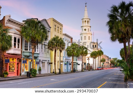CHARLESTON, SOUTH CAROLINA - MAY 19, 2015: Shops line Broad street in the French Quarter. The French Quarter is within the original walled city of Charleston.