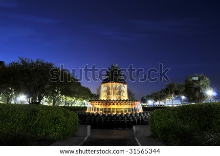Charleston South Carolina Pineapple Fountain at Night Horizontal with Copy Space - stock photo