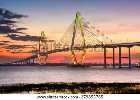 Charleston, South Carolina, USA at Arthur Ravenel Jr. Bridge. - stock photo