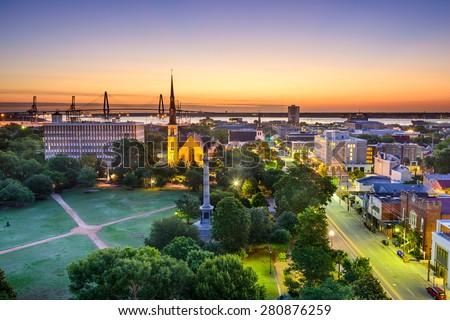 Charleston, South Carolina, USA skyline over Marion Square. - stock photo
