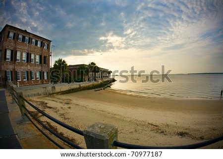 Charleston waterfront at the Battery during sunrise - stock photo