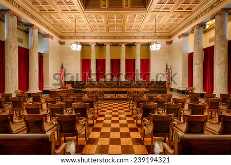 CHARLESTON, WEST VIRGINIA - DECEMBER 18: Supreme Court chamber in the West Virginia State Capitol building on December 18, 2014 in Charleston, West Virginia - stock photo