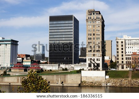 Charleston, West Virginia skyline seen during fall afternoon. - stock photo