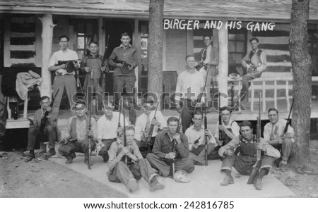 Charlie Birger (1881-April 19, 1928) and his gang. Before prohibition he was a saloon keeper and then became a bootlegger operating from Harrisburg, Illinois. - stock photo