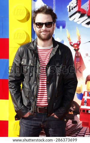 """Charlie Day at the Los Angeles premiere of """"The LEGO Movie"""" held at the Regency Village Theatre in Los Angeles on February 1, 2014 in Los Angeles, California.  - stock photo"""