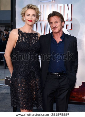 "Charlize Theron and Sean Penn at the Los Angeles premiere of ""A Million Ways To Die In The West"" held at the Regency Village Theatre in Los Angeles, California, United States on May 15, 2014.  - stock photo"