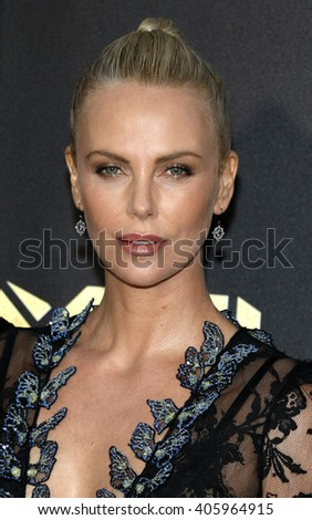 Charlize Theron at the 2016 MTV Movie Awards held at the Warner Bros. Studios in Burbank, USA on April 9, 2016. - stock photo