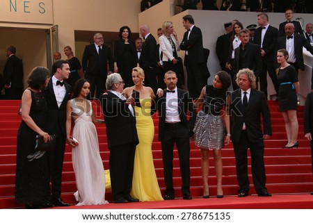 Charlize Theron, Sean Penn attend the 'Mad Max : Fury Road' Premiere during the 68th annual Cannes Film Festival on May 14, 2015 in Cannes, France. - stock photo