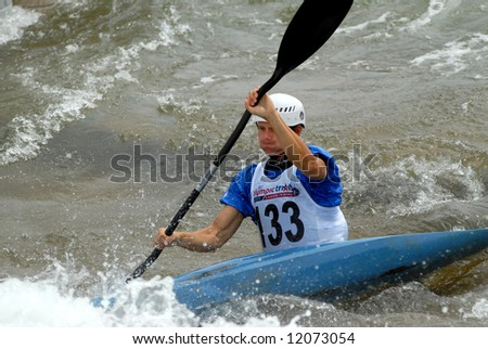 CHARLOTTE - APRIL 27: Brett Heyl of the USA competes in the Olympic Team Trials for Whitewater Slalom at the U.S. National Whitewater Center on April 27, 2008 in Charlotte, NC.