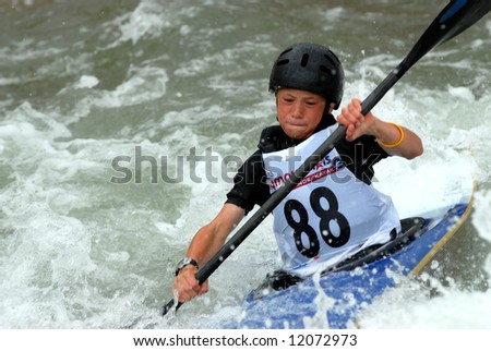 CHARLOTTE - APRIL 27: Cully Brown of the USA competes in the Olympic Team Trials for Whitewater Slalom at the U.S. National Whitewater Center on April 27, 2008 in Charlotte, NC.
