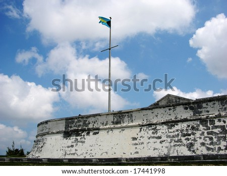 Charlotte Fort with a flag in Nassau, the capital of The Bahamas.