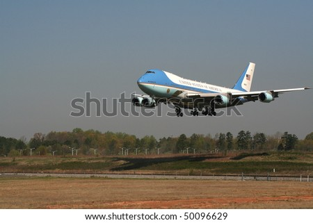 CHARLOTTE, NC - APRIL 2: Air Force One lands on Good Friday, April 2, 2010 in Charlotte. President Obama visits Charlotte NC to proclaim worst is over in the Economy on April 2, 2010 in Charlotte, North Carolina - stock photo