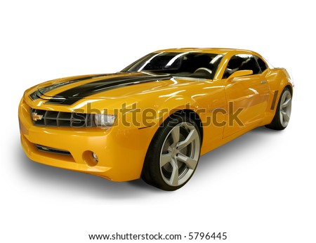 CHARLOTTE, NC - APRIL 6, 2008: Lowes Motor Speedway. 2007 Chevy Camaro - From the movie Transformers - Autobot Bumble Bee at Lowes Motor Speedway, April 6, 2008 in Charlotte, North Carolina. - stock photo