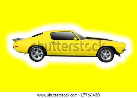 CHARLOTTE, NC - APRIL 6, 2008: Lowes Motor Sppedway. Classic Muscle Car on Yellow at Lowes Motor Speedway, April 6, 2008 in Charlotte, North Carolina. With Clipping Path - stock photo