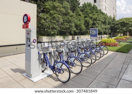 CHARLOTTE, NC - AUGUST 18 2015, Bike Rental, City bikes for rent, Rental bicycles with dockmotor in Charlotte NC, USA - stock photo