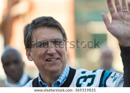 CHARLOTTE, NC - JANUARY 29: Governor Pat McCrory arrives at the Panther Pride Rally on January 29, 2016 in Charlotte, NC.  The Carolina Panthers football team will compete in Super Bowl 50.