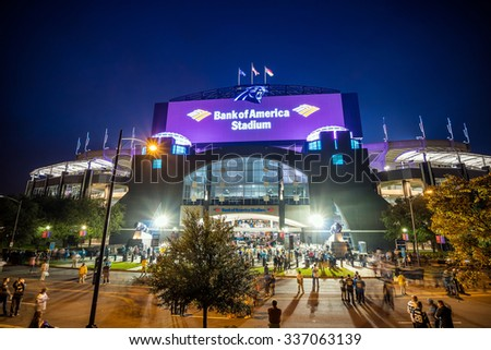 Charlotte, NC - OCT 25 :  Panthers NFL Stadium in downtown Charlotte on October 25,2015