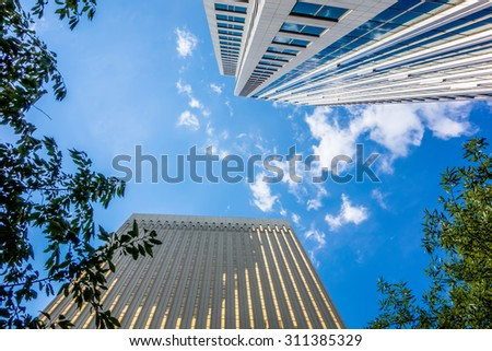 charlotte nc skyline and street scenes during day time - stock photo