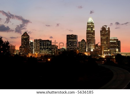 Charlotte, NC Skyline at Dusk - stock photo