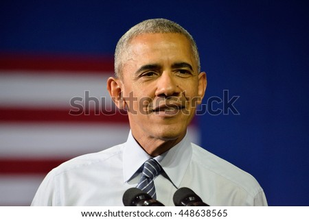 CHARLOTTE, NC, USA - JULY 5, 2016: President Barack Obama speaks at a campaign rally for the presumptive democratic nominee at the Charlotte Convention Center. - stock photo