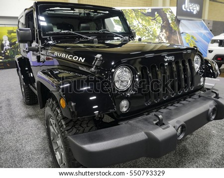 CHARLOTTE, NC, USA - NOVEMBER 17, 2016:  Jeep Rubicon on display during the 2016 Charlotte International Auto Show at the Charlotte Convention Center in downtown Charlotte.