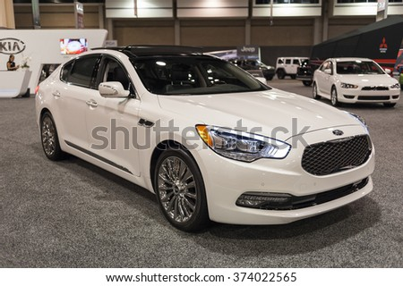CHARLOTTE, NC, USA - November 11, 2015: Kia K900 sports sedan on display during the 2015 Charlotte International Auto Show at the Charlotte Convention Center in downtown Charlotte.