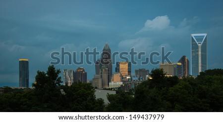 Charlotte, North Carolina at Twilight - stock photo