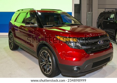 CHARLOTTE, NORTH CAROLINA - NOVEMBER 20, 2014: Ford explorer on display during the 2014 Charlotte International Auto Show at the Charlotte Convention Center.