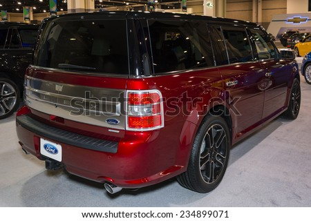 CHARLOTTE, NORTH CAROLINA - NOVEMBER 20, 2014: Ford Flex on display during the 2014 Charlotte International Auto Show at the Charlotte Convention Center.