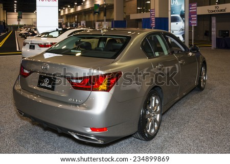 CHARLOTTE, NORTH CAROLINA - NOVEMBER 20, 2014: Lexus GS 350 on display during the 2014 Charlotte International Auto Show at the Charlotte Convention Center. - stock photo