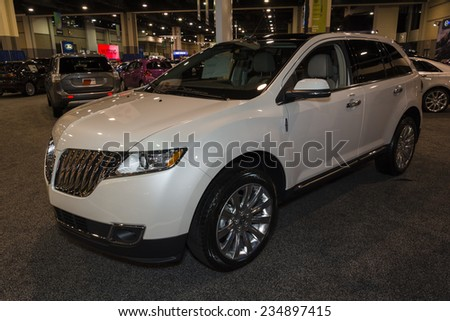 CHARLOTTE, NORTH CAROLINA - NOVEMBER 20, 2014: Lincoln MKX on display during the 2014 Charlotte International Auto Show at the Charlotte Convention Center.