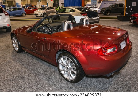 CHARLOTTE, NORTH CAROLINA - NOVEMBER 20, 2014: Mazda MX-5 Miata on display during the 2014 Charlotte International Auto Show at the Charlotte Convention Center.