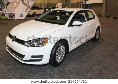 CHARLOTTE, NORTH CAROLINA - NOVEMBER 20, 2014: Volkswagen Golf on display during the 2014 Charlotte International Auto Show at the Charlotte Convention Center.