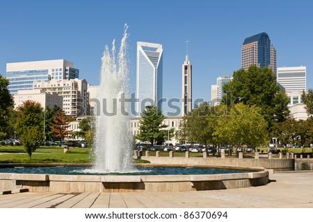 Charlotte, North Carolina skyline as seen from Marshall Park - stock photo