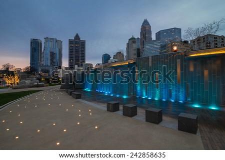 Charlotte, North Carolina skyline taken from the Romare Bearden Park in uptown.  - stock photo