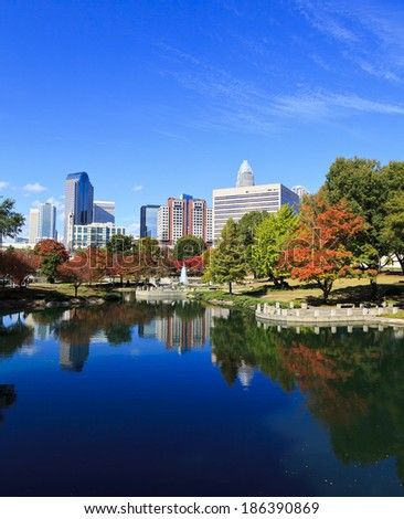 Charlotte, North Carolina United States November 2, 2013 Charlotte skyline from Marshall Park in the fall. The new Skye condos are in the middle. - stock photo