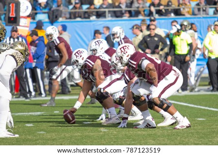 CHARLOTTE, NORTH CAROLINA/USA – DECEMBER 29 2017: The 2017 NCAA College Football 'Belk Bowl' Texas A&M University vs Wake Forest University at the Bank of America Stadium.