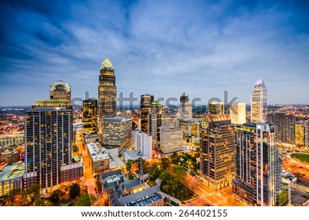 Charlotte, North Carolina, USA Skyline. - stock photo