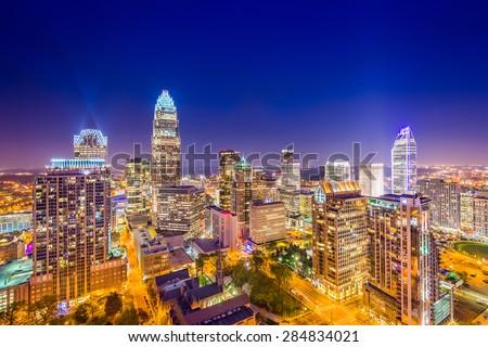 Charlotte, North Carolina, USA uptown skyline at night. - stock photo