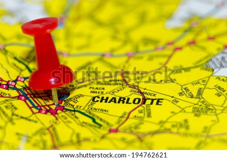 charlotte qc city pin on the map - stock photo