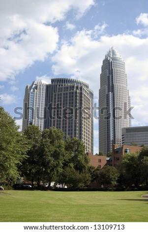 Charlotte skyline from Fourth Ward Park - stock photo