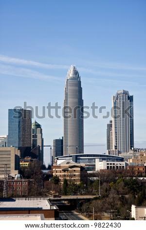 Charlotte Skyline with Bobcats Arena - stock photo