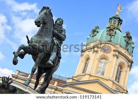 Charlottenburg Palace, monument to the Elector Friedrich III, Berlin, Germany - stock photo