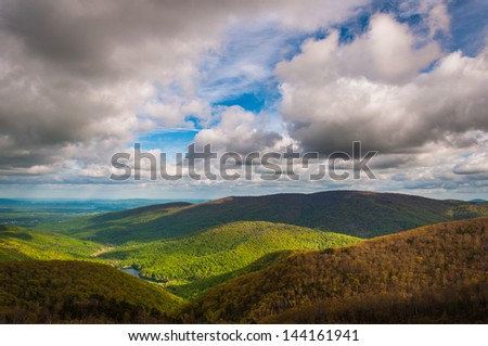 Charlottesville Reservoir, seen from Moorman's River Overlook on Skyline Drive in Shenandoah National Park, Virginia. - stock photo