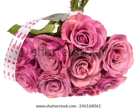 Charm pink roses as a gift on Valentines day over white - stock photo