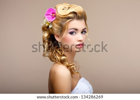 Charm. Portrait of Elegant Blond hair Woman Fiancee with Flowers. Womanliness - stock photo