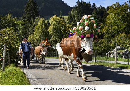 Charmey, Fribourg, Switzerland - SEPTEMBER 26 2015 : Farmers with a herd of cows on the annual transhumance at Charmey near Gruyeres, Fribourg zone on the Swiss alps - stock photo