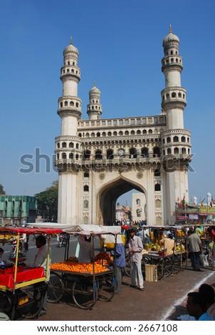 Charminar, hyderabad's principal landmark, built in 1591 - stock photo